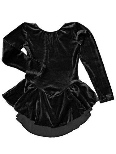 Motionwear Black Velour Long Sleeve Skirted Leotard