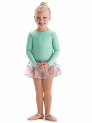 Motionwear Catalina Long Sleeve Mint Sheer Skirted Leotard