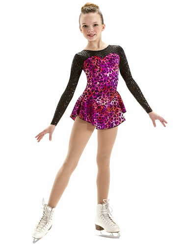 Motionwear Cheetah Prism Pink Sequins Sweetheart Long Sleeve Skate Dress
