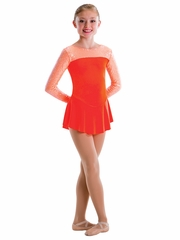 Motionwear Coral Sequins/Velour 2 Tone Long Sleeve Curve Yoke Skirted Leotard