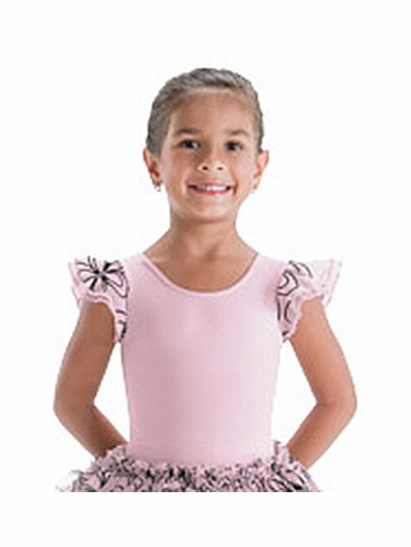 Motionwear Cupcake Collection Juliet Pink Double Ruffle Sleeve Leotard