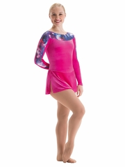 Motionwear Galaxy Long V-Sleeve Skirted Skate Leotard