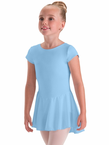 Motionwear Light Blue Cap Sleeve Sheer Skirted Leotard