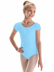 CLEARANCE - Motionwear Light Blue Pinch Cap Sleeve Leotard Silkskyn