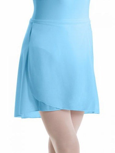 Motionwear Light Blue Pull-On Wrap Crepe Skirt