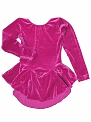 Motionwear Lip Gloss Pink Velour Long Sleeve Skirted Leotard