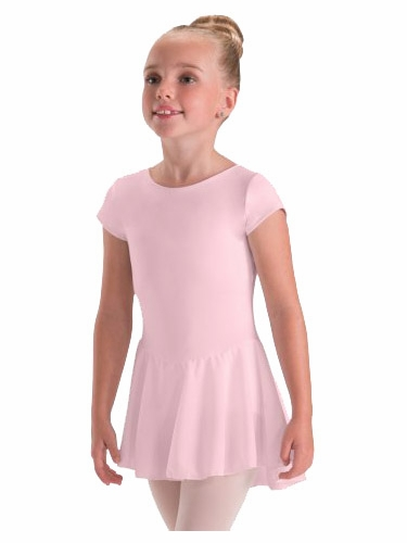 Motionwear Pink Cap Sleeve Sheer Skirted Leotard