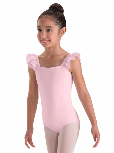 Motionwear Pink Double Ruffle Bandeau Leotard