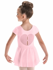 Motionwear Pink Heart Back Skirted Leotard