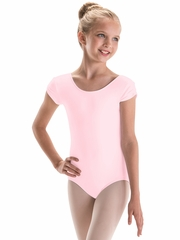 Motionwear Pink Pinch Cap Sleeve Leotard Silkskyn