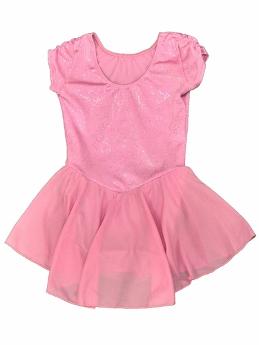 Motionwear Pink Pinch Sleeve Skirted Leotard