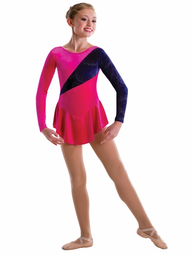 Motionwear Purple Jubilee Glitter Velour Spotlight Long Sleeve Skirted Leotard