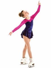CLEARANCE - Motionwear Purple Jubilee Sequins Sweetheart Long Sleeve Skate Dress