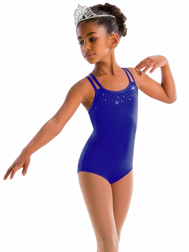 Motionwear Sparkle In Diamante Concord Blue Rhinestone 4 Strap Cami Bow Back Leotard