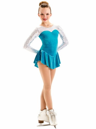Motionwear Teal Sequins Sweetheart Long Sleeve Skate Dress