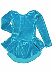 Motionwear Teal Velour Long Sleeve Skirted Leotard