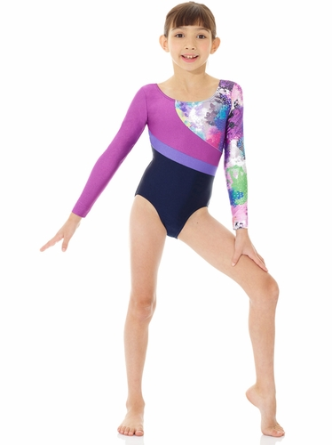 Mondor Multicolor Abstract Printed Metallic Leotard