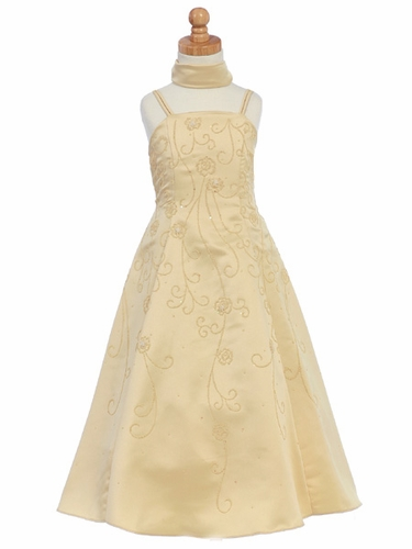 Gold Flower Girl Dress - Matte Satin A-Line
