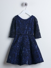 CLEARANCE - Navy 3/4 Sleeve Sequin Lace Dress