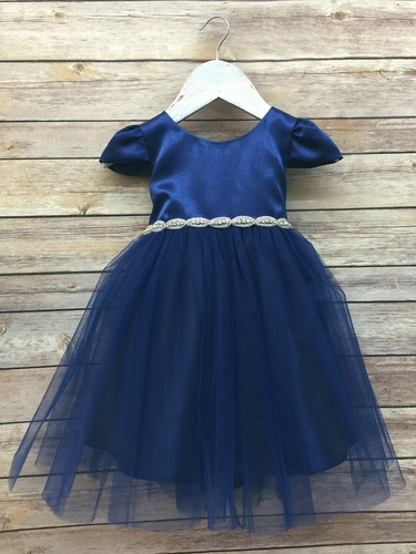 Navy Baby Satin & Tulle Dress w/ Cap Sleeve & Gem Belt