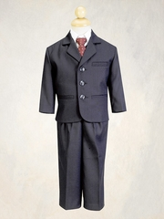 Navy Blue Boys Pin-Striped Suit - 5 Piece Suit