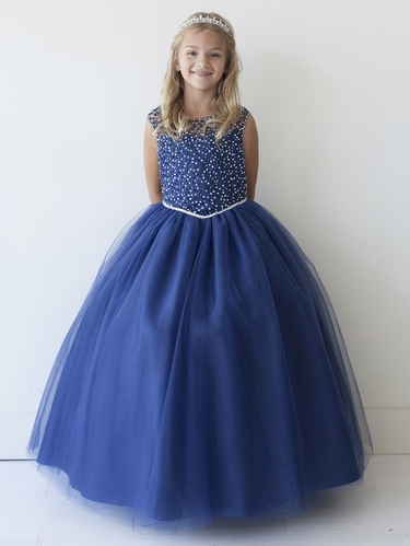 Navy Blue Cap Sleeve Beaded Sequin Tulle Dress