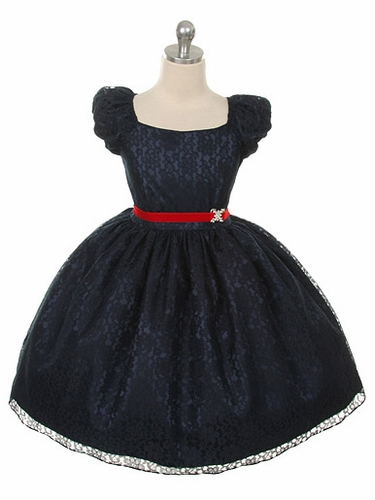 Navy Blue Cap Sleeve Lace Flower Girl Dress