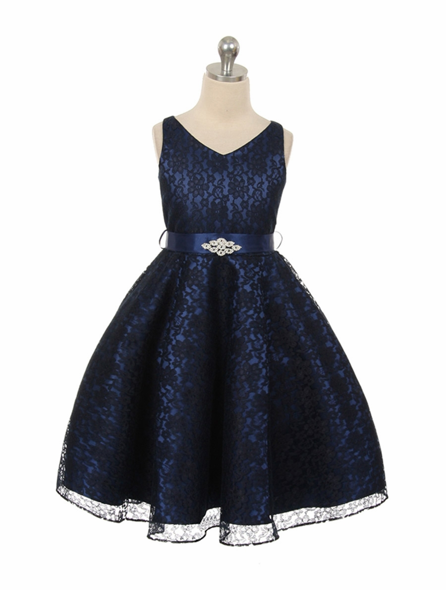 Navy Blue Lace Contrast Satin Sleeveless Dress W Satin