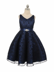 Navy Blue Lace Contrast Satin Sleeveless Dress w/ Satin Sash & Brooch
