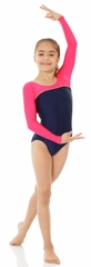Mondor Navy Blue Shiny Long Sleeve Leotard