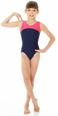 Mondor Navy Blue  Shiny Tank Leotard w/ Combination of Neon Colors