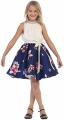 Navy Blue Off White Floral Ribbon Dress w/ Jeweled Collar