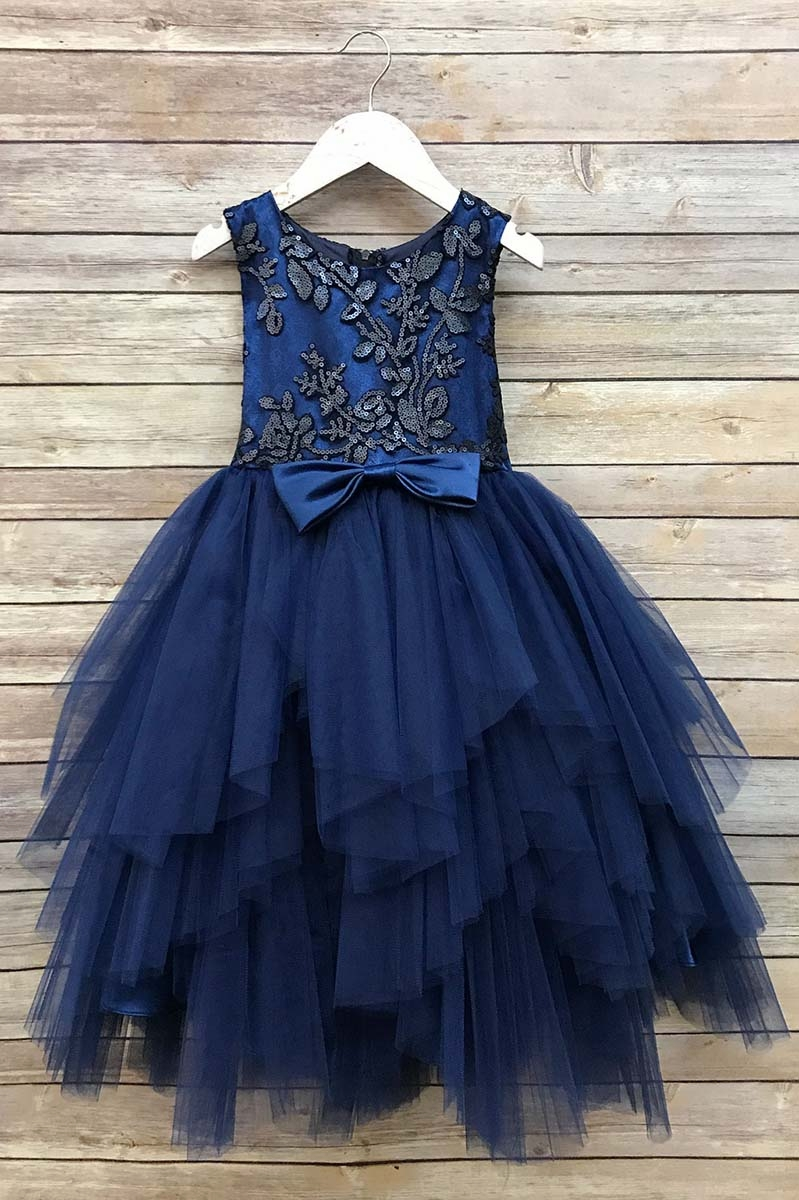 Petite Adele 284 Navy Blue Sequined Top Amp Ruffle Tulle Skirt