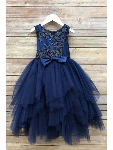 Petite Adele 284 Navy Blue Sequined Top & Ruffle Tulle Skirt