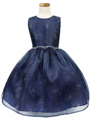 CLEARANCE - Navy Blue Star Dust Organza Dress