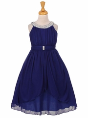 Navy Chiffon Pleated Jeweled Neckline Dress