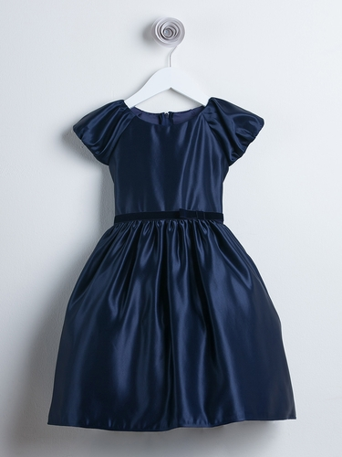 Navy Classic Satin Holiday Dress