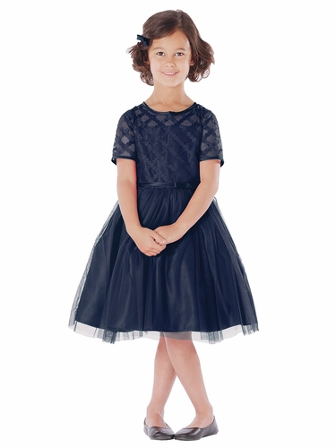 Navy Cross Hatch Satin & Mesh Dress
