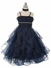 Navy Crystal Pleated Multi-Layered Petal Dress