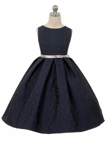 Navy Floral Jacquard Dress