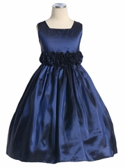 Navy Flower Girl Dress - Taffeta Dress w/ Flower Cummerbund