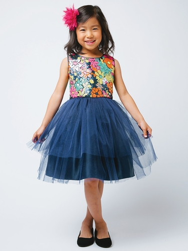 Navy Flower Sequin Top w/ 2 Tier Tulle Dress