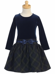 Swea Pea & Lilli Navy & Green Long Sleeve Velvet & Plaid Dress
