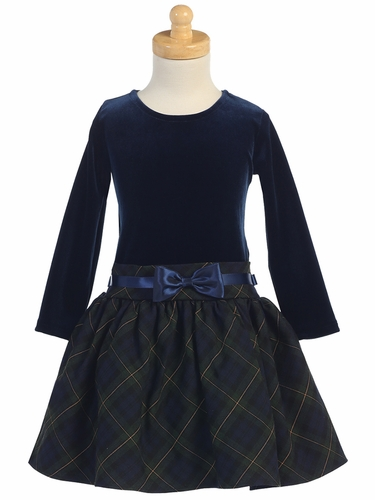 Navy & Green Long Sleeve Velvet & Plaid Dress