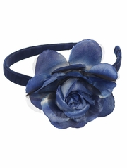 Navy Headband w/ Large Rose