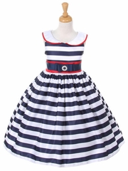 Navy Peter Pan Collar Striped Dress w/ Red Accents