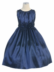 Navy Pleated Solid Taffeta Dress w/ Hand Rolled Flower