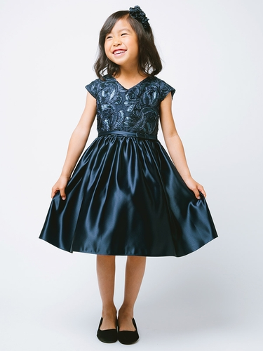Navy Ribbon & Sequin Embroidered Satin Dress