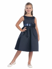 Navy Satin Dress w/ Sequin Waistline