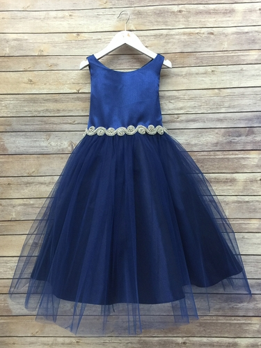 Navy Satin & Tulle Dress w/ Gem Belt